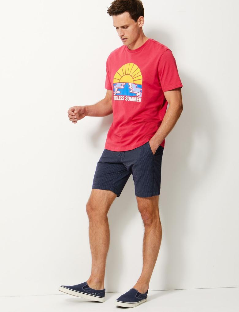 Erkek Kırmızı Saf Pamuklu Baskılı T-shirt