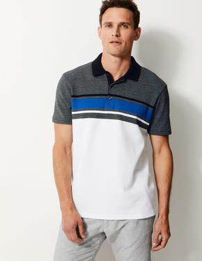 Erkek Beyaz Saf Pamuklu Çizgili Polo Yaka T-shirt