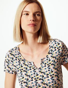 Çiçek Desenli Regular Fit T-shirt