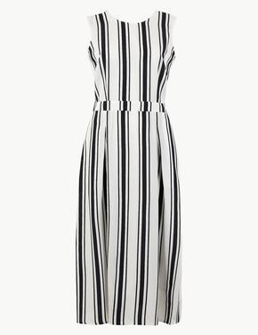 Çizgili Midi Elbise