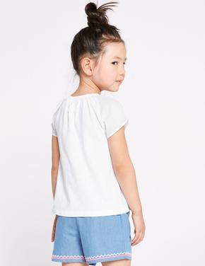 Saf Pamuklu Baskılı T-shirt