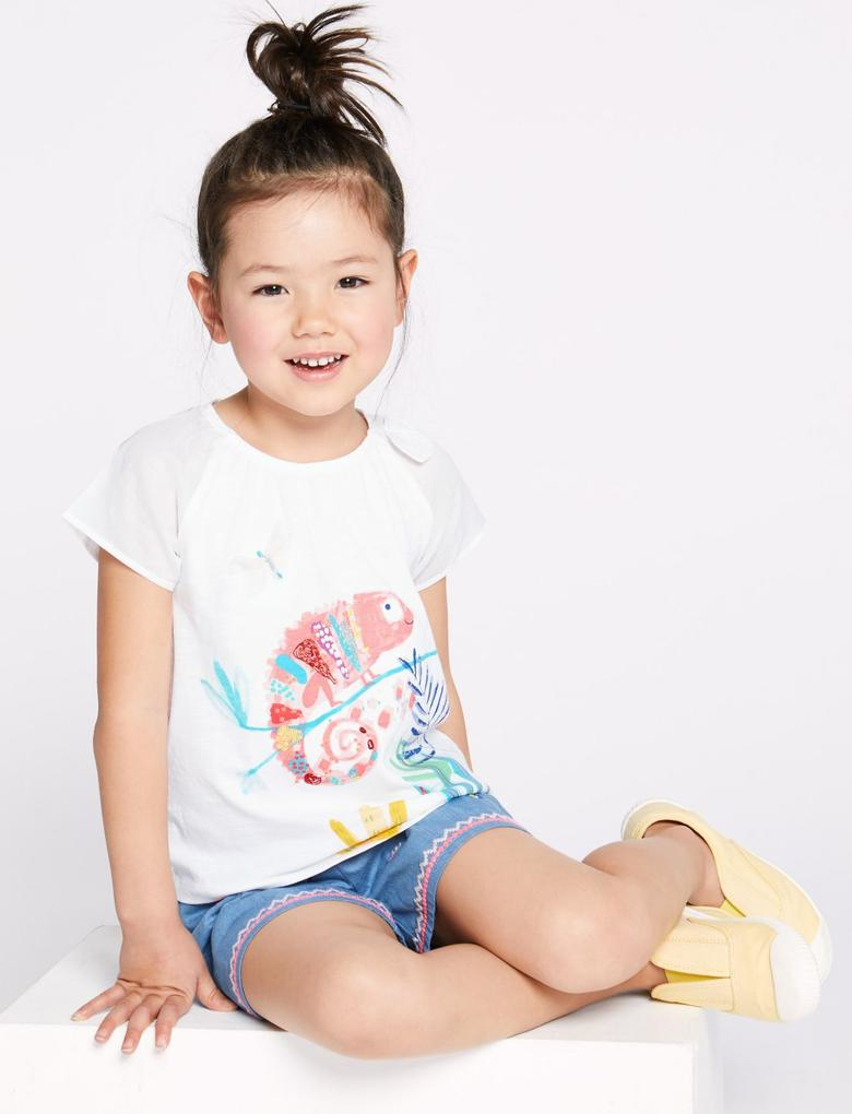 Kız Çocuk Multi Renk Saf Pamuklu Baskılı T-shirt