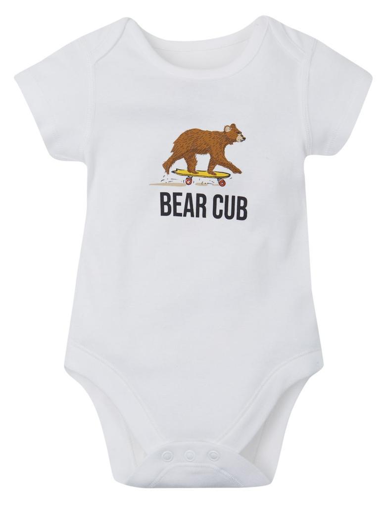 Bebek Beyaz Saf Pamuklu Baskılı Tulum