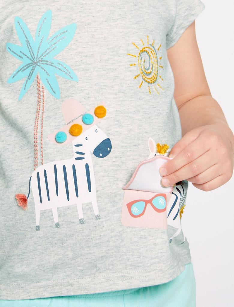 Saf Pamuklu Zebra Desenli Pijama Takımı