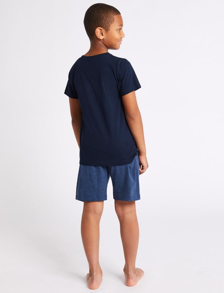 Saf Pamuklu Şortlu Pijama Takımı