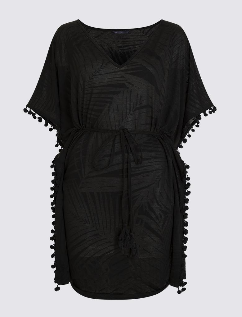 Siyah Desenli Plaj Elbisesi