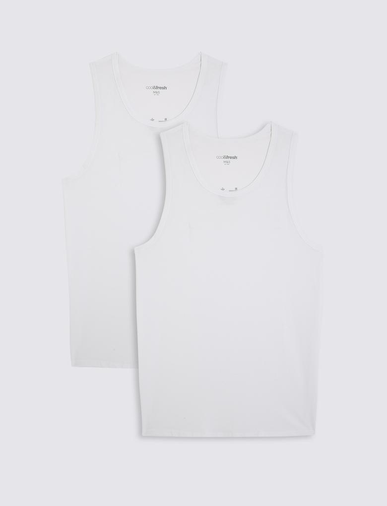 Erkek Beyaz 2'li Cool & Fresh™ Kolsuz Streç Atlet Seti
