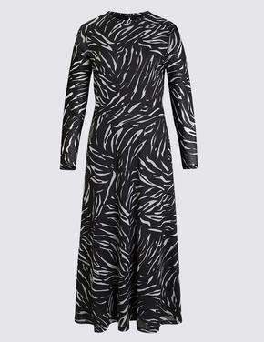 Kadın Krem Desenli Midi Elbise