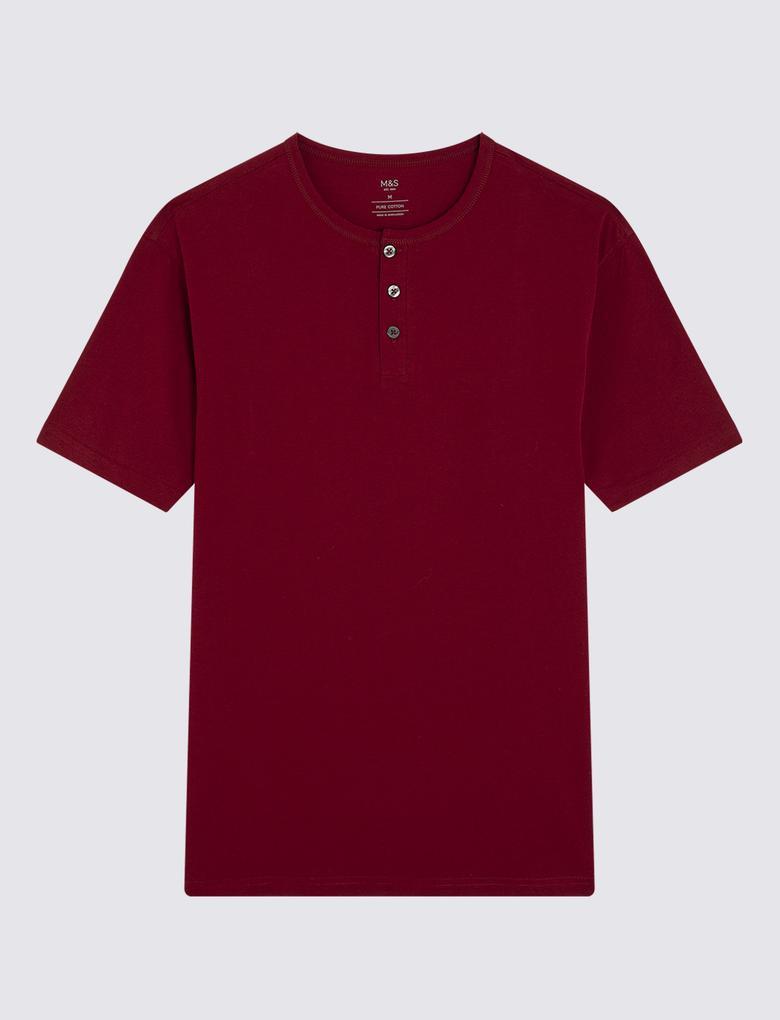Kırmızı Henley Yaka T-shirt