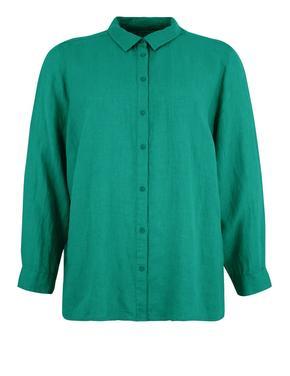 Kadın Mavi CURVE Saf Keten Uzun Kollu Gömlek