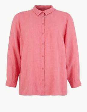 CURVE Saf Keten Uzun Kollu Gömlek