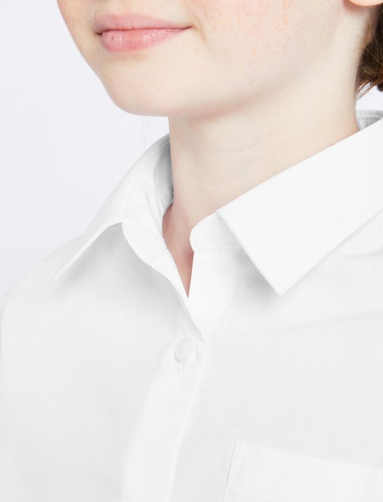 Çocuk Beyaz 2'li Ütü Gerektirmeyen Uzun Kollu Gömlek