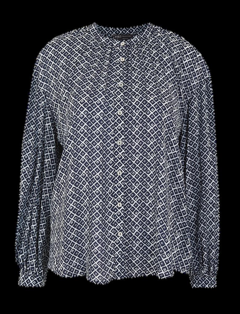 Kadın Lacivert Baskılı Dökümlü Bluz