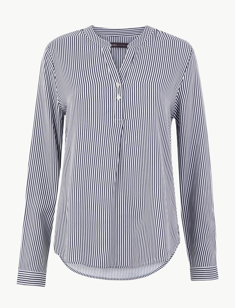 Çizgili Düğme Detaylı Bluz