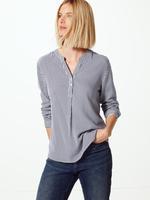 Kadın Lacivert Çizgili Düğme Detaylı Bluz