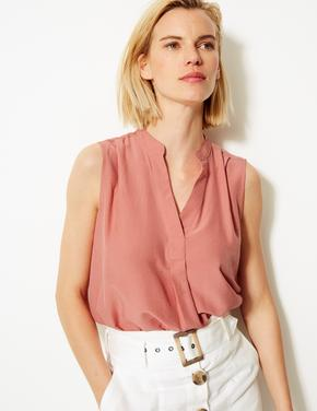Kadın Pembe V-Yaka Kolsuz Bluz