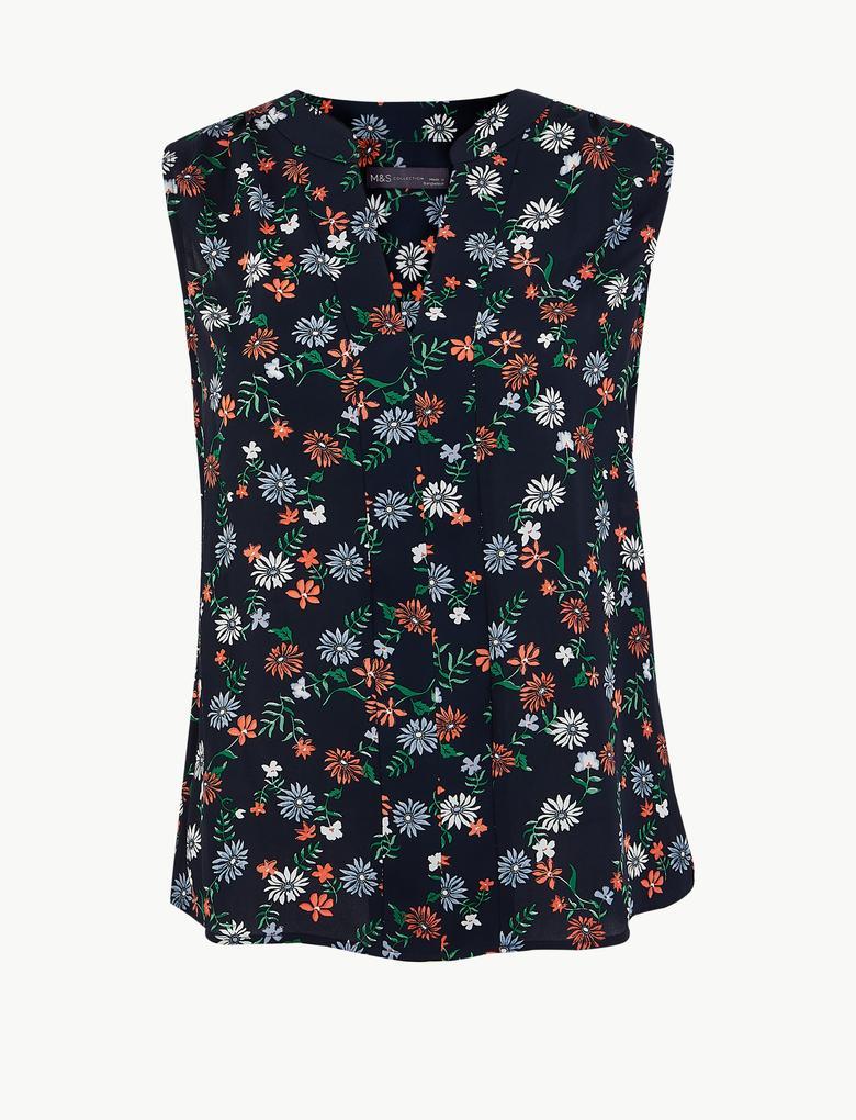 Kadın Lacivert Çiçek Desenli Kolsuz Bluz