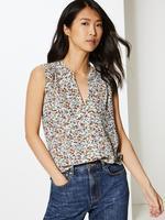 Kadın Krem Çiçek Desenli Kolsuz Bluz