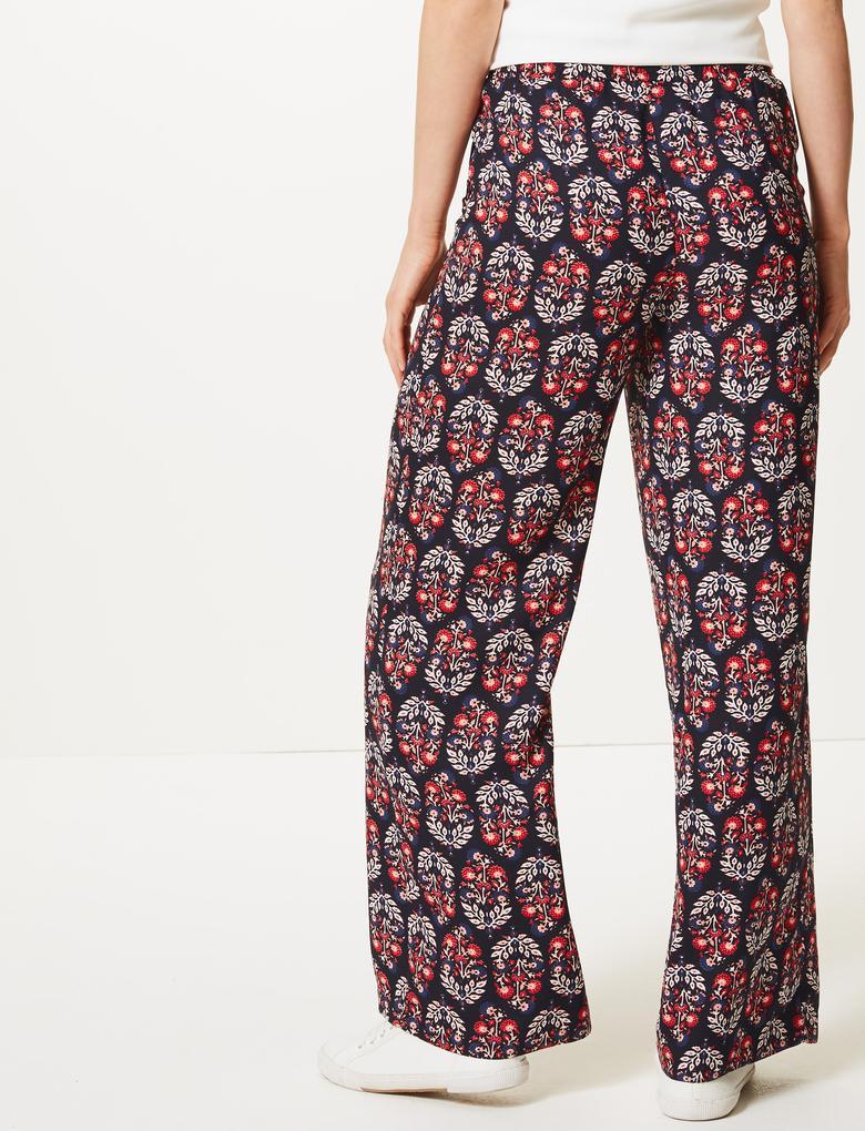Kadın Lacivert Çiçek Desenli Wide Leg Yüksek Bel Pantolon