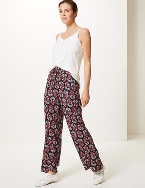 Çiçek Desenli Wide Leg Yüksek Bel Pantolon