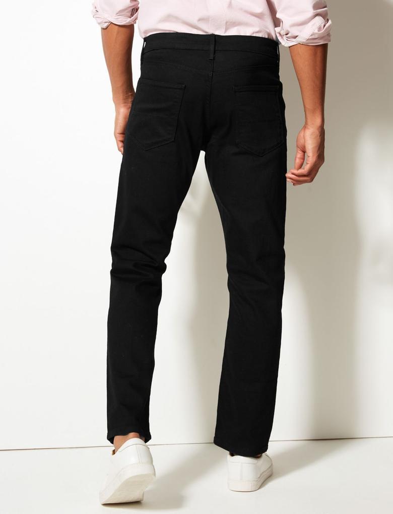 Erkek Siyah Straight Fit Streç Jean Pantolon