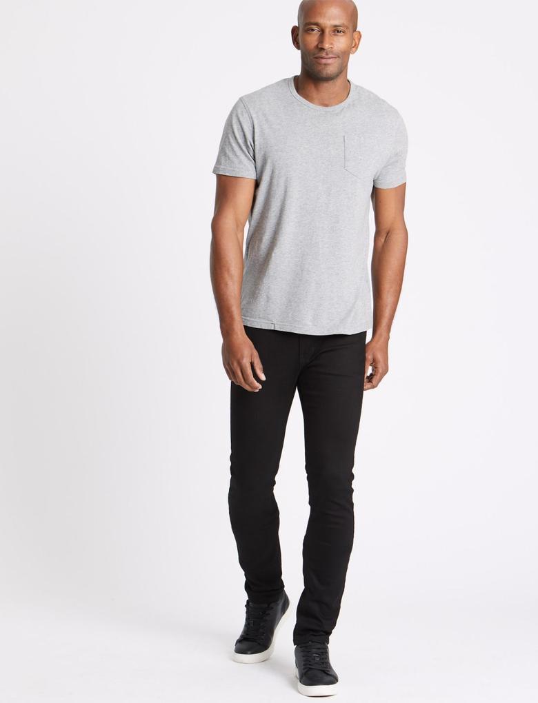 Erkek Siyah Skinny Fit Streç Jean Pantolon