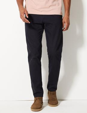 Lacivert Saf Pamuklu Tapered Fit Chino Pantolon