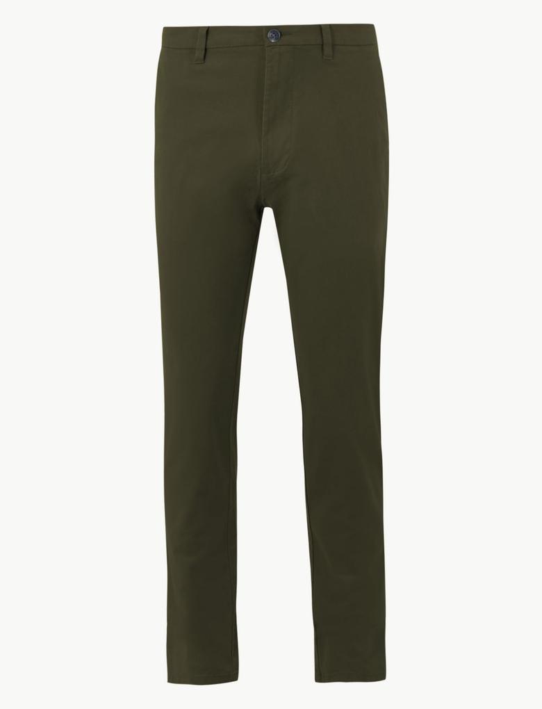Erkek Yeşil Slim Fit Chino Pantolon