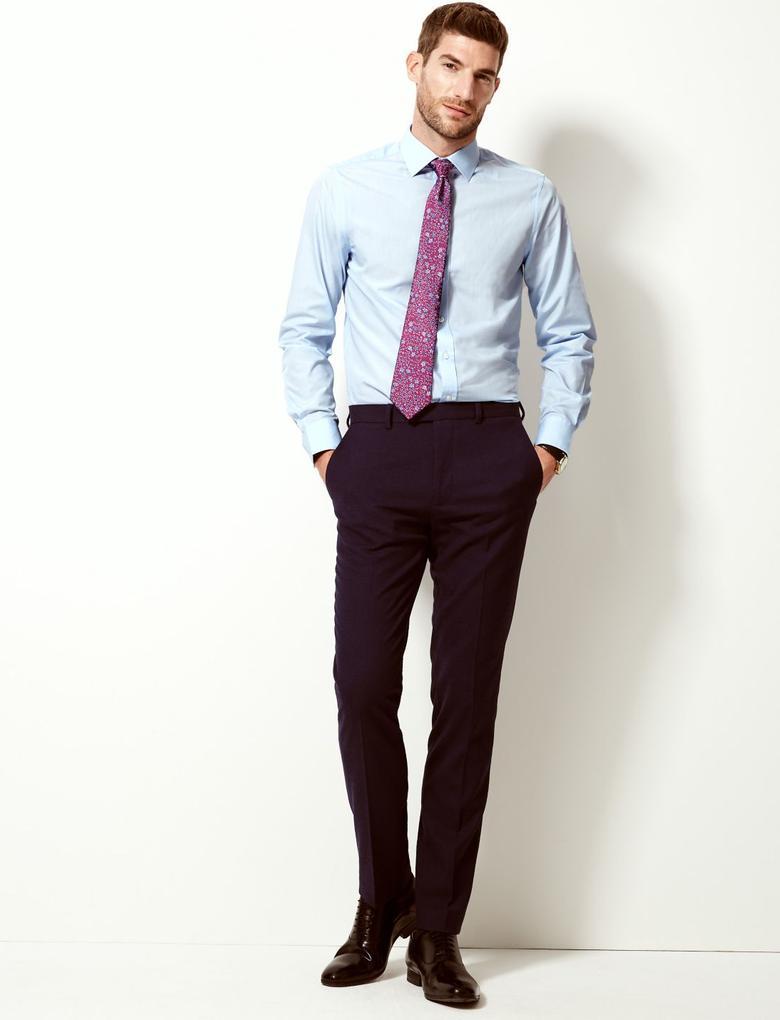 Erkek Mavi Pamuklu Slim Fit Gömlek