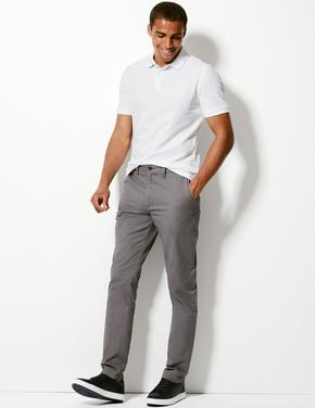 Saf Pamuklu Tapered Fit Chino Pantolon