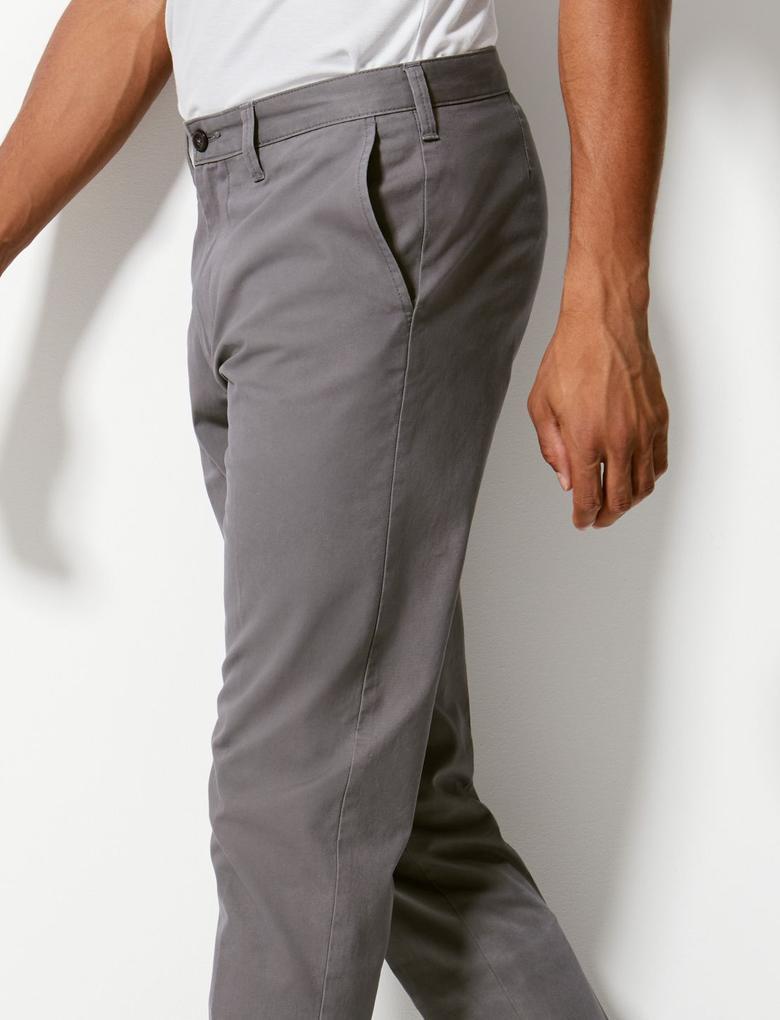 Gri Saf Pamuklu Tapered Fit Chino Pantolon