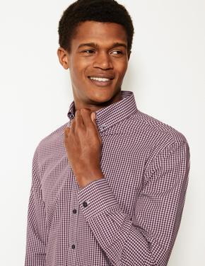 Mor Pamuklu Kolay Ütülenebilir Slim Fit Gömlek