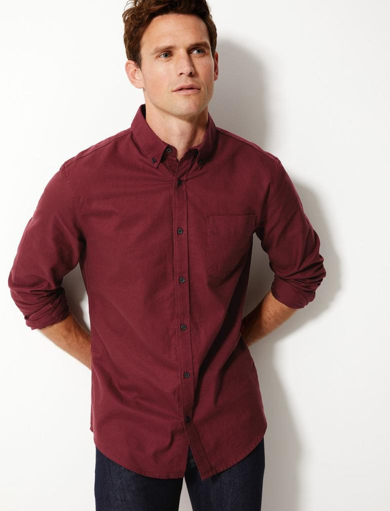 Saf Pamuklu Oxford Gömlek