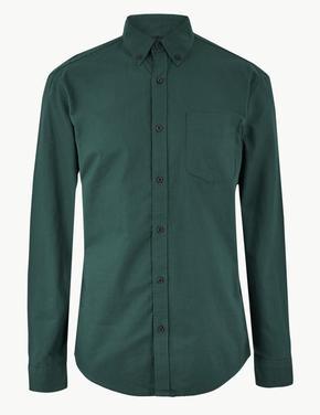 Yeşil Saf Pamuklu Oxford Gömlek