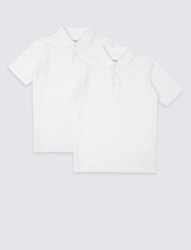 Erkek Çocuk Beyaz 2'li Saf Pamuklu Polo Yaka T-Shirt