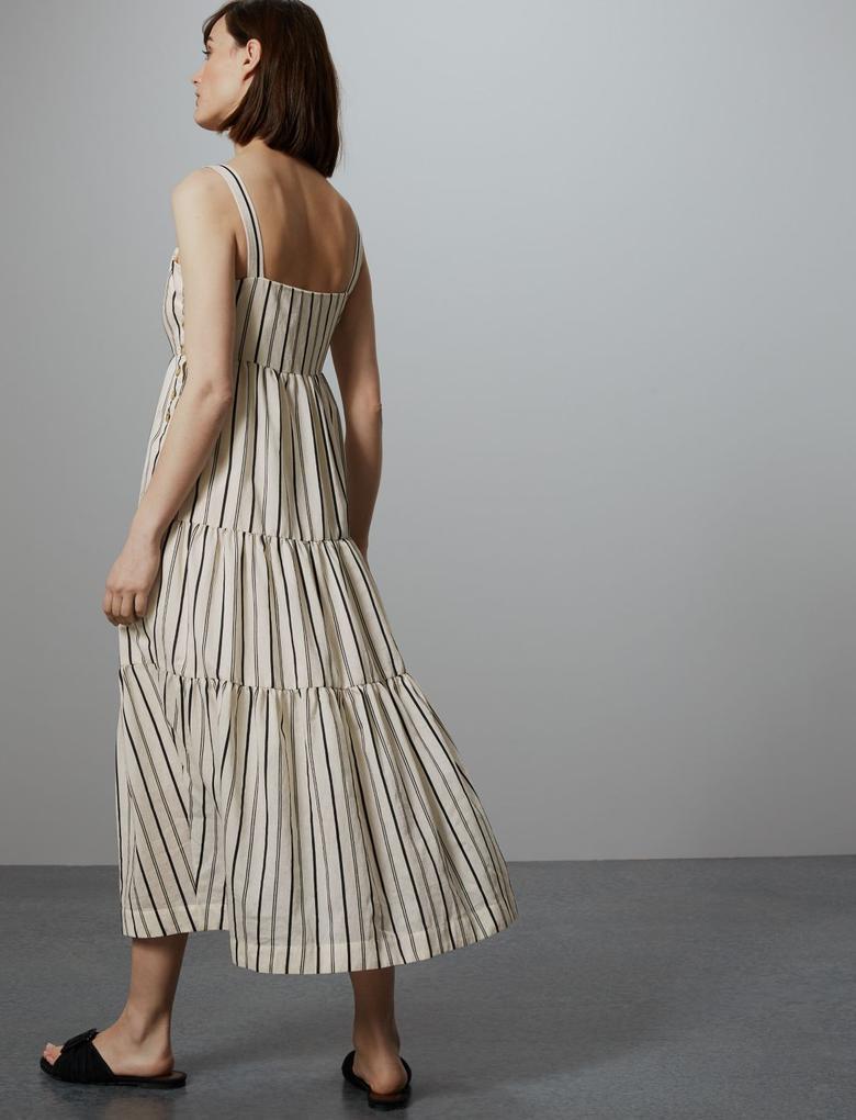 Bej Çizgili Maxi Elbise