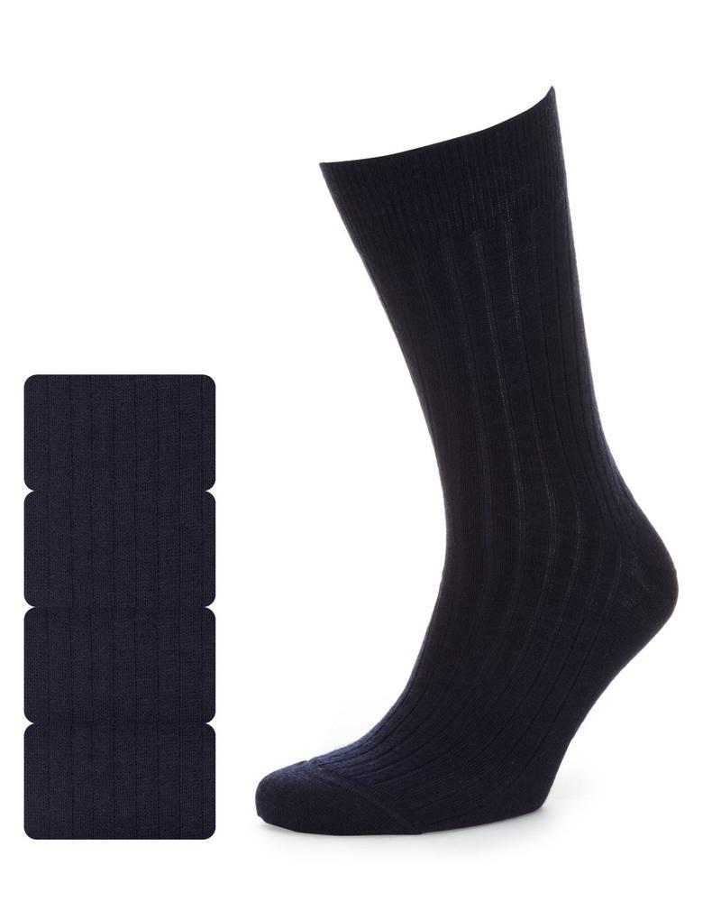 Lacivert 4'lü Kuzu Yünlü Çorap