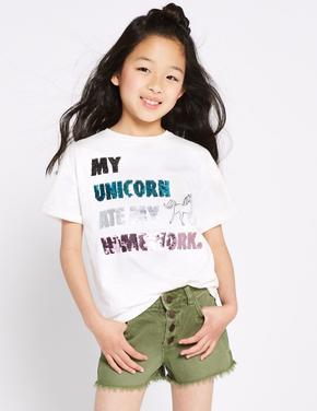 Saf Pamuklu Unicorn İşlemeli T-Shirt