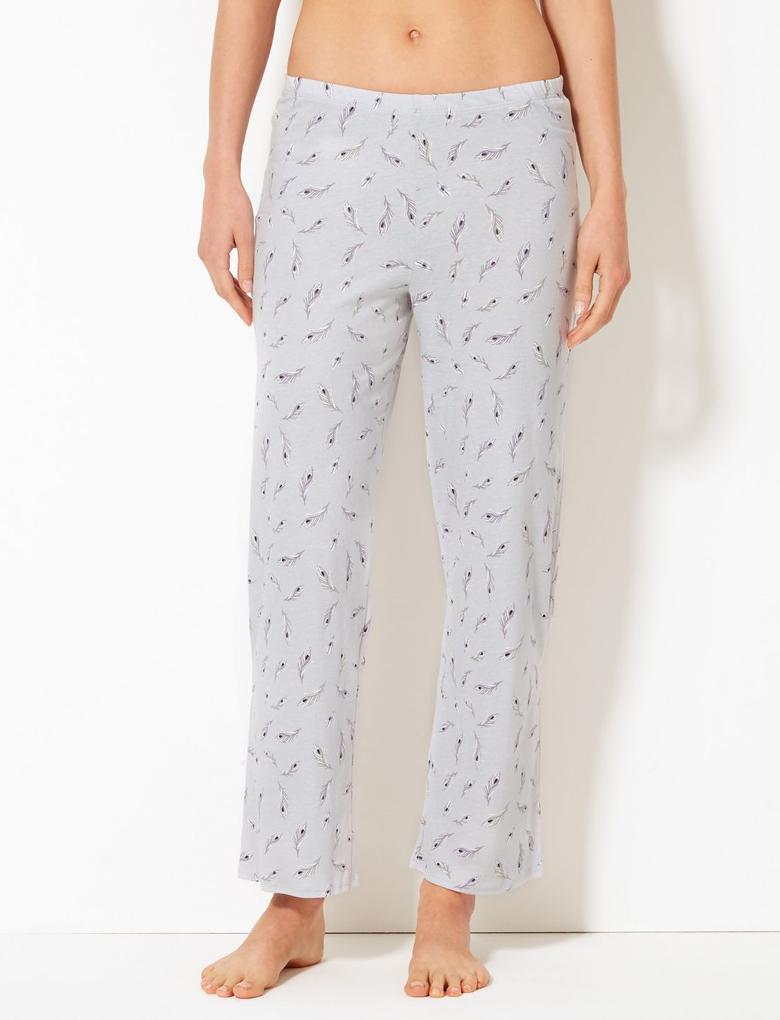 Gri Saf Pamuklu Desenli Pijama Takımıı