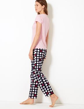 Saf Pamuklu Puantiyeli Pijama Seti