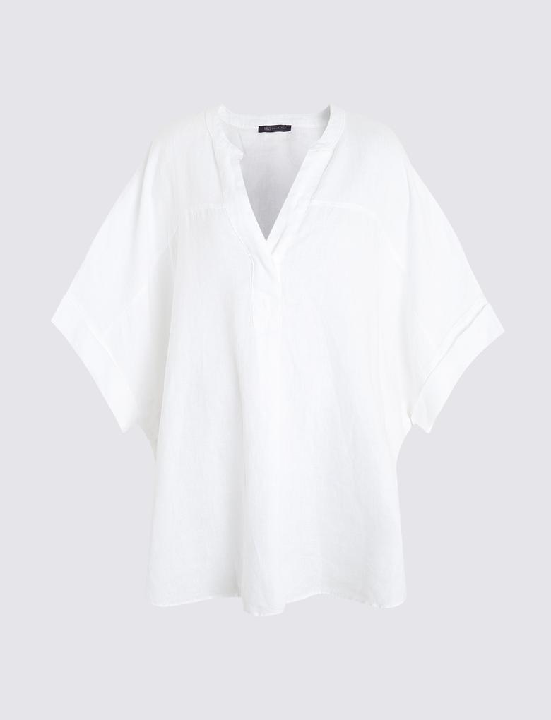 CURVE Büyük Beden Keten Bluz