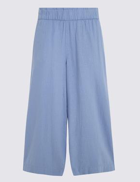 Kadın Mavi Wide Leg Kısa Pantolon