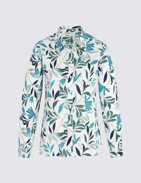 Keten Karışımlı Uzun Kollu Gömlek
