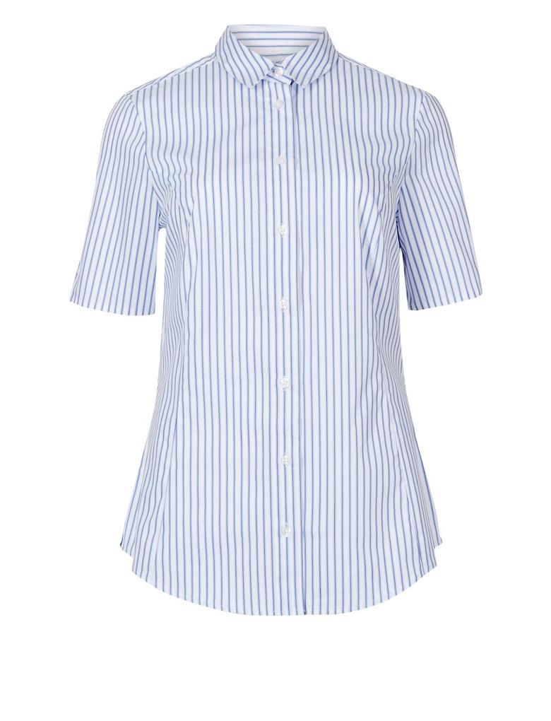 Pamuklu Çizgili Kısa Kollu Gömlek