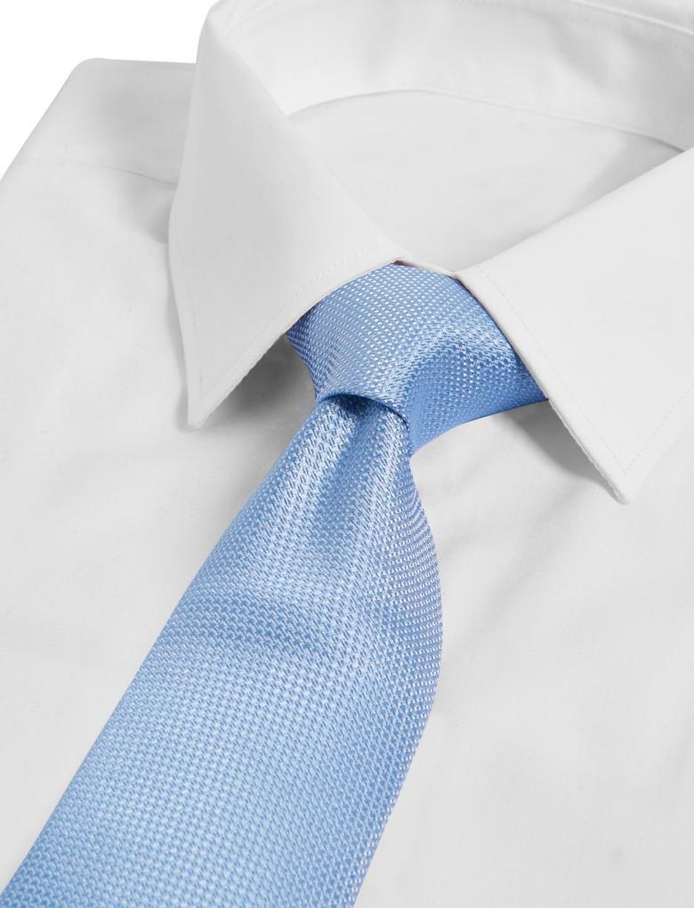 Erkek Mavi Saf İpek Kravat