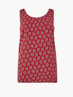 Kadın Kırmızı Çiçek Desenli Kolsuz Bluz
