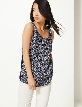 Kadın Lacivert Geometrik Desenli Kolsuz Bluz