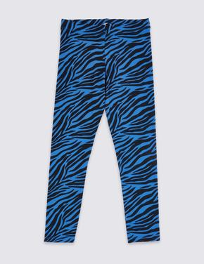 Pamuklu Zebra Desenli Tayt