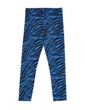 Kız Çocuk Mavi Pamuklu Zebra Desenli Tayt