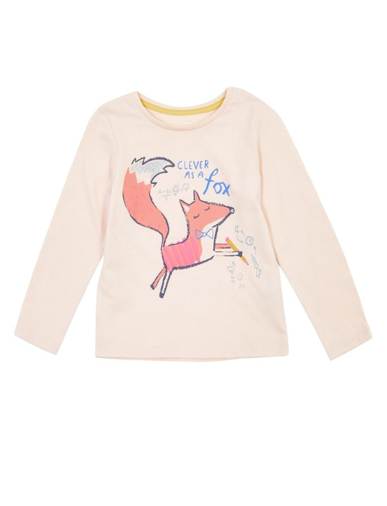 Saf Pamuklu Tilki Baskılı T-Shirt